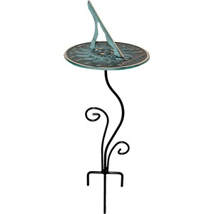 Wrought Iron Flowerbed Pedestal with Sundial