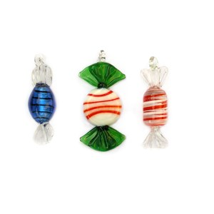 Glass Candy Ornaments - Set of 3