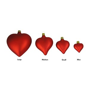 Red Heart Ornaments - Matte - Handblown Glass