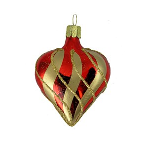 Red Heart with Gold Stripes Hand-Blown Glass Ornament