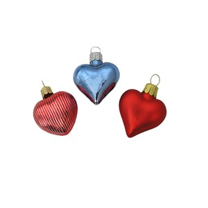Miniature Glass Heart Ornaments