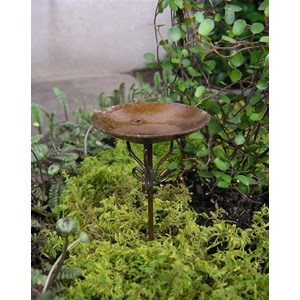 Miniature Metal Bird Bath Pick