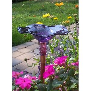 Purple Hand-blown Glass Butterfly Feeder
