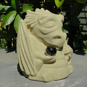 Meditating Dragon with Cat's Eye - Old Stone