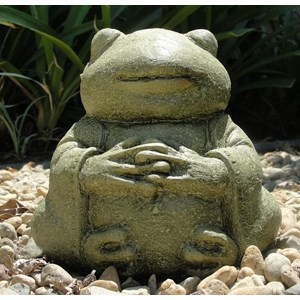Meditating Frog - Mossy Glazed