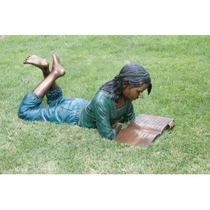 Dorothy Reading Brass Statue