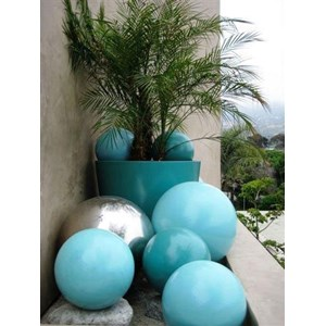 Geo Spheres with Geo Round Pot - fiberglass - custom colors