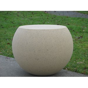 Cast Stone Sphere Stool - Creme