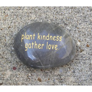 Plant kindness gather love word stone