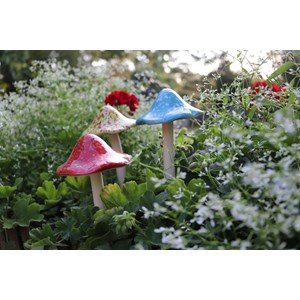 Ceramic Mushroom Stakes - Blue, Red, Yellow