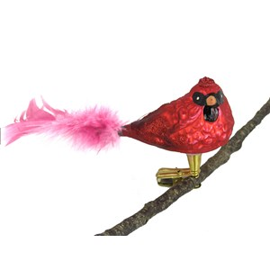 Cardinal Bird Ornament - Hand-blown Glass