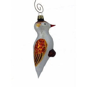 Woodpecker with Gold Wings Hand-Blown Glass Ornament