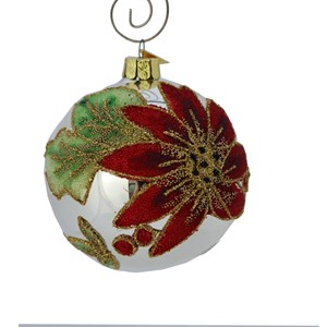 Poinsettia on Silver Ball Ornament