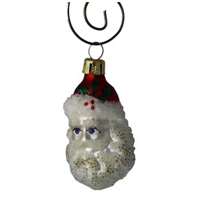 Santa with Sparkly Beard Glass Ornament