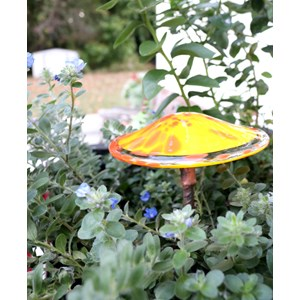 Handblown Glass Mushroom Stake - Yellow & Orange