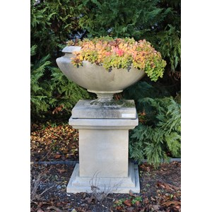 Frank Lloyd Wright Small Residence Vase in Creme on Queen Anne Pedestal