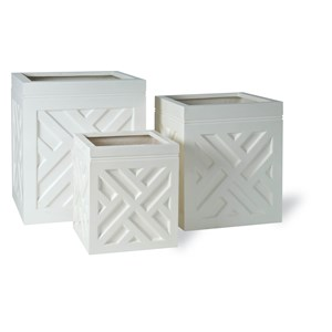 Square Fiberglass Planters with Chippendale Design