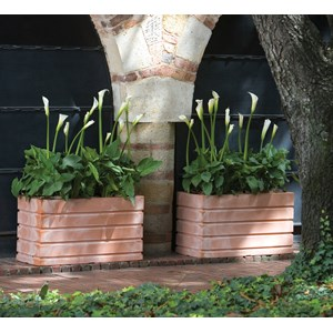 Ellis - lightweight rectangular planters - Weathered Terracotta