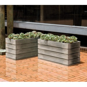 Ellis - lightweight rectangular planters - Weathered Grey Stone
