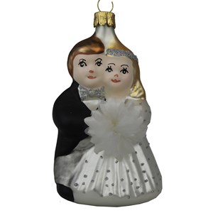 Bride & Groom Ornament - Hand-Blown Glass