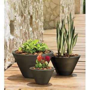 Gramercy Round - lightweight resin planter - Old Bronze