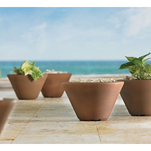 Gramercy Round - lightweight resin planter - Rust