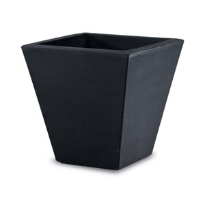 Gramercy Square - lightweight square planter - Caviar Black