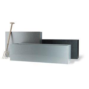 Geo Trough Fiberglass Planters - Aluminum finish