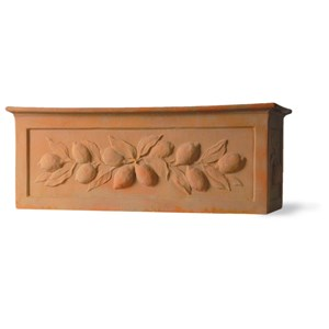 Fiberglass Citrus Trough Planter - Weathered Terracotta