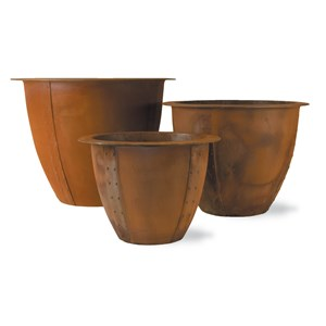 Norman - fiberglass planters - Rust finish