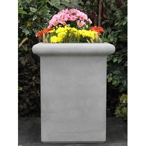 Tall Chelsea Box cast stone tall square planter - Pewter