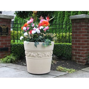 Regency Leaf - cast stone round planter - Creme