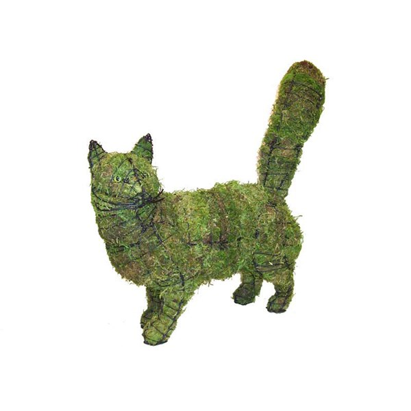 Mossed Walking Cat Topiary Frame