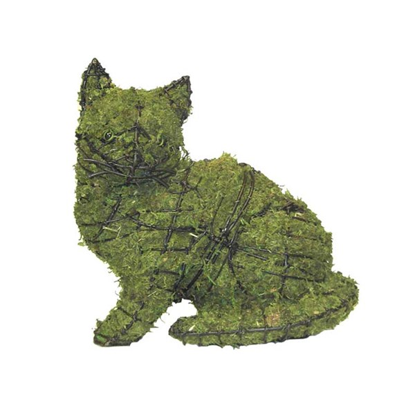Mossed Sitting Kitten Topiary Frame