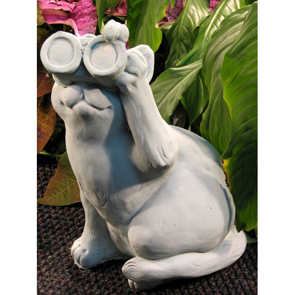 Bird Watching Cat statue - Antique Grey