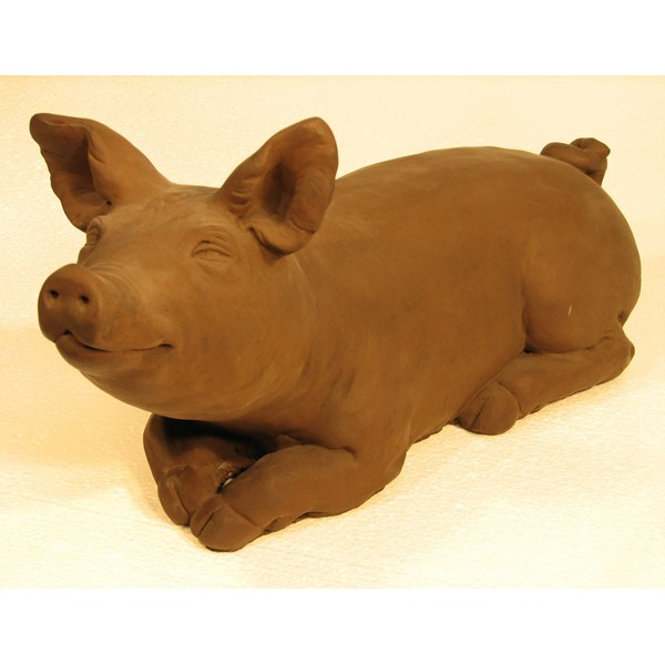 Brother Pig statue - Dark Walnut