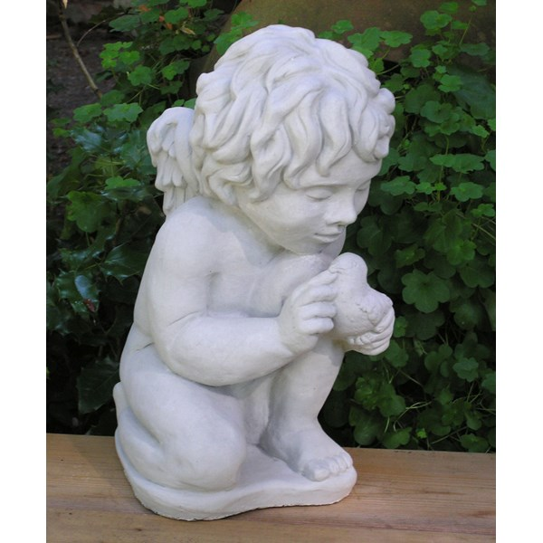 Cherub with Bird statue - Antique Grey