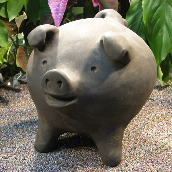 Chanchito Pig statue - Antique Grey