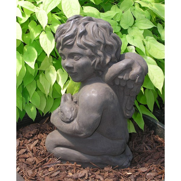 Cherub with Bunny statue - Dark Walnut
