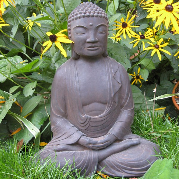 Meditating Buddha statue - Dark Walnut