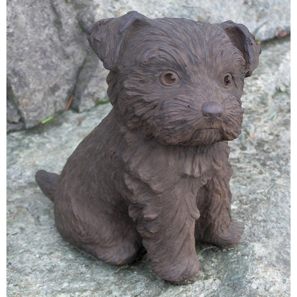 Yorkshire Puppy statue in Dark Walnut