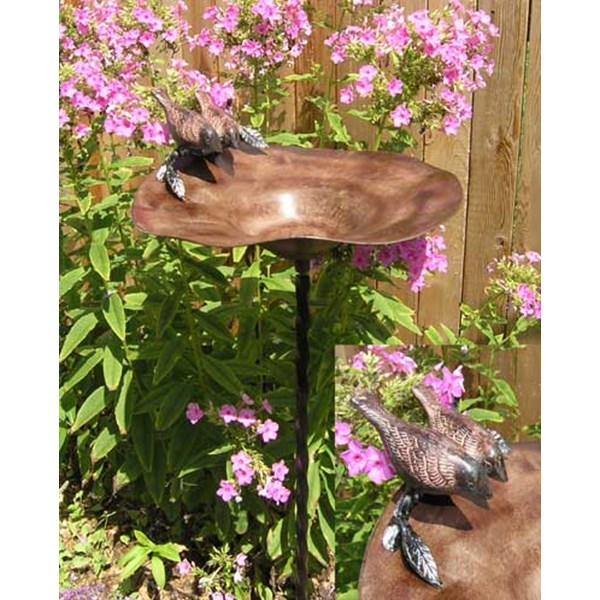 Brass Birdbath with Twist Stake