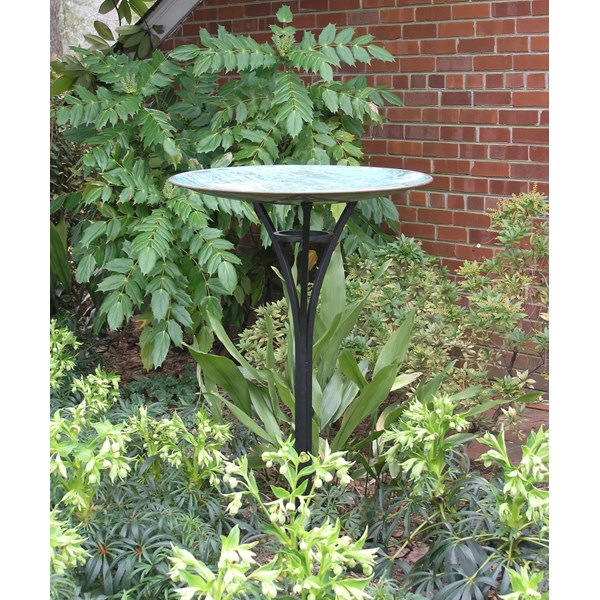 Elegant Copper Birdbath - Verdigris Finish