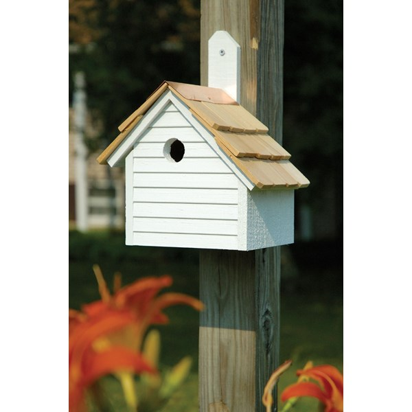 Cape Cod Wren Birdhouse - White Washed