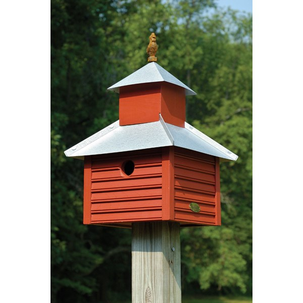 Rusty Rooster Birdhouse - Red with Galvanized Roof