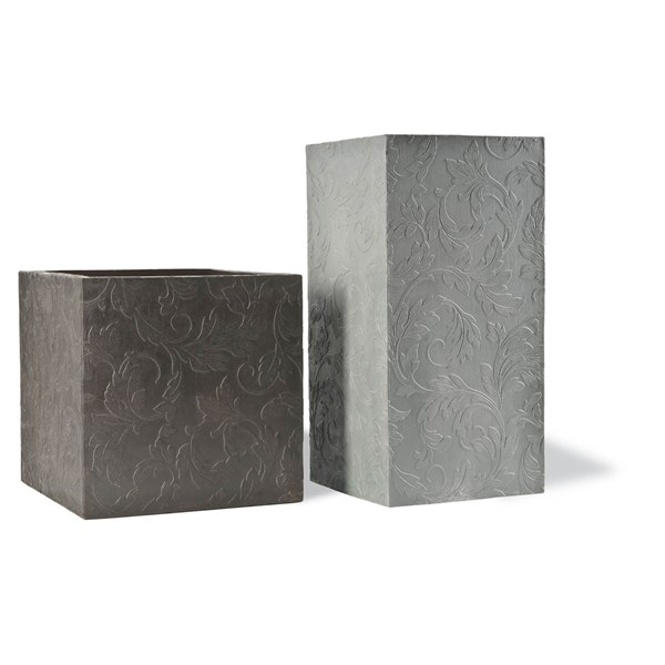 Fairhaven tall square fiberglass planters with floral design