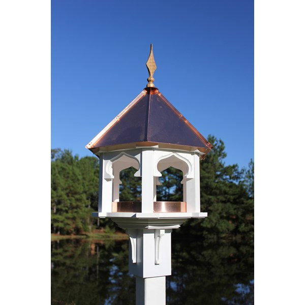 Carousel Cafe Birdfeeder - White PVC with Bright Copper Roof