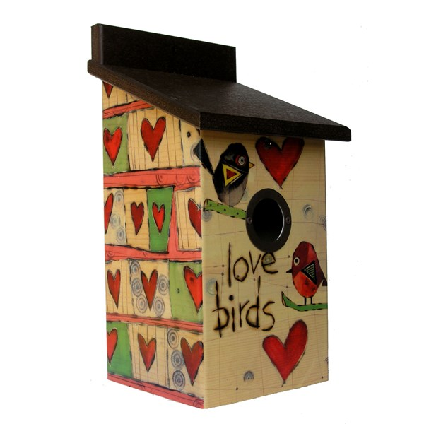 Love Birds Birdhouse - Front & Side View