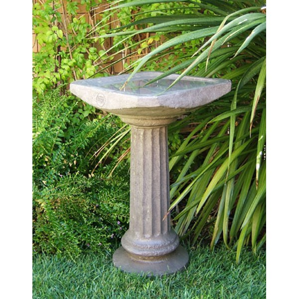 Old World Octagon Concrete Birdbath