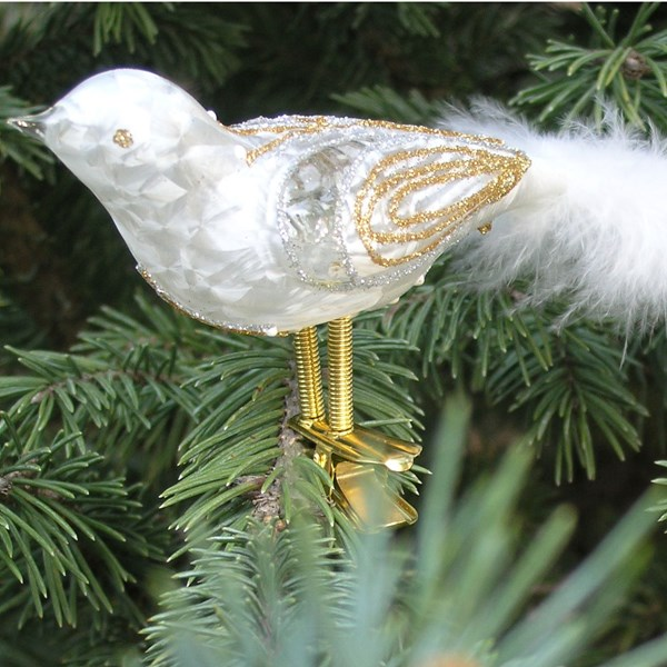 Hand-blown Glass White Bird Ornament with Tail Feather